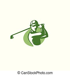 Green golf player logo template vector illustration