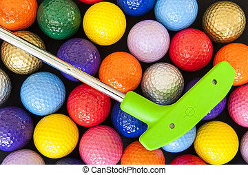 Green Golf Putter with Colorful Balls - Green mini golf...