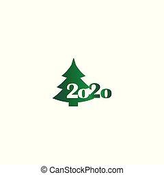 Green gradient icon christmas tree 2020