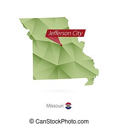 Green gradient low poly map of Missouri with capital...