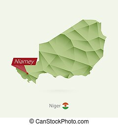Green gradient low poly map of Niger with capital Niamey