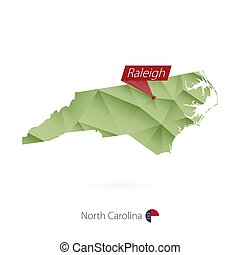 Green gradient low poly map of North Carolina with capital Raleigh