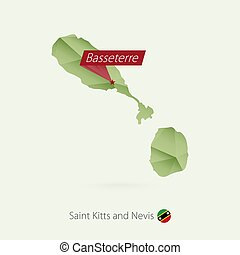 Green gradient low poly map of Saint Kitts and Nevis with capital Basseterre