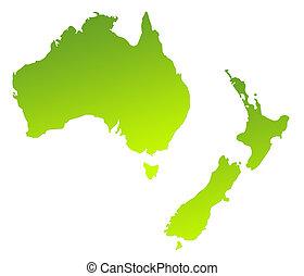 Australia and New Zealand - Green gradient map of Australia ...