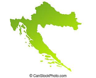 Croatia - Green gradient map of Croatia isolated on a white...