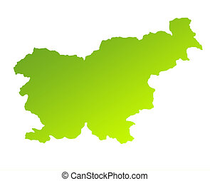 Slovenia - Green gradient map of Slovenia isolated on a...