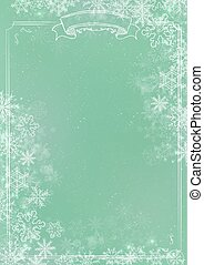Green gradient winter paper background with snowflake border
