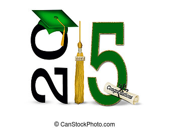 Green graduation hat with gold tassel and diploma for class of 2015.