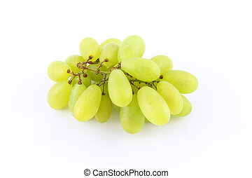 Green grape on white background.