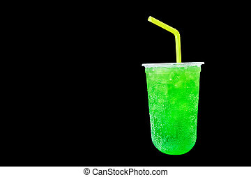 Green grape soda sweet water Isolated on a Black color background