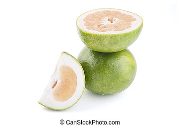 Green Grapefruit, Citrus Sweetie on white background