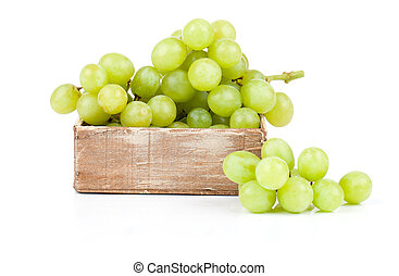 Green grapes in wooden box, Isolated on white backgroun