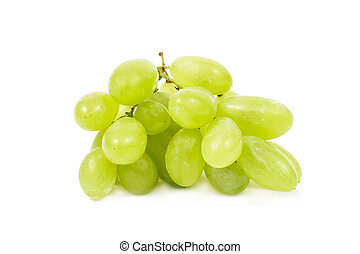 Green grapes, Isolated on white background