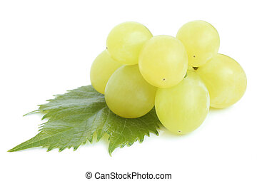Green grapes with leaf