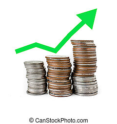 Green graph increasing on coins stack with white background