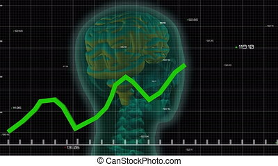 Green graphs moving against 3D human head model - Animation ...