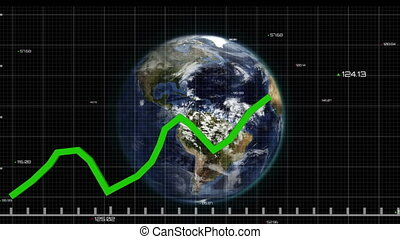 Green graphs moving against spinning globe - Animation of ...