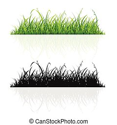 Green Grass and Black Silhouette Line Set. Vector