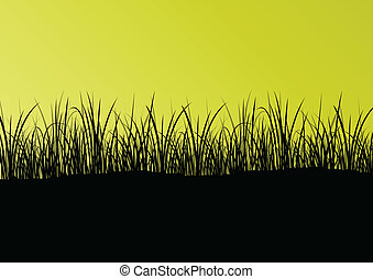Green grass and plants detailed silhouette landscape illustration abstract background vector