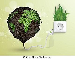 Green grass and socket plug