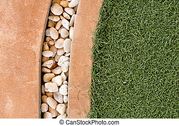 green grass and stone background