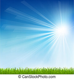 Green Grass And Sun Beam With Blur, Vector Illustration