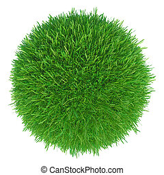 green grass ball on white
