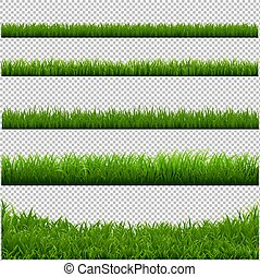 Green Grass Big Borders Collection Transparent Background