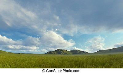 Green grass blowing in the wind with mountain range against stormy clouds
