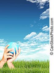 Green grass, blue sky