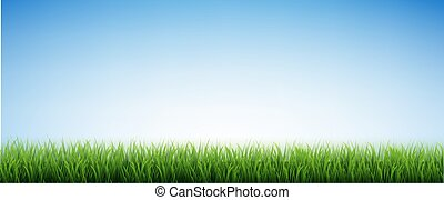Green Grass Border And Blue Sky
