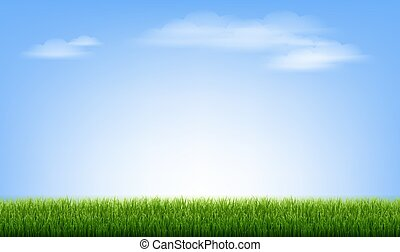 Green Grass Border With Blue Sky And Cloud