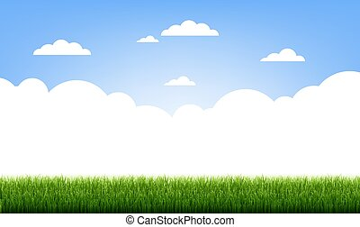 Green Grass Border With Blue Sky And Clouds