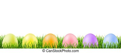 Green Grass Border With Easter Eggs