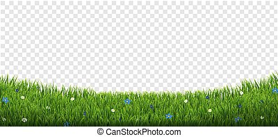 Green Grass Border With Flowers And Sun Isolated Transparent Background