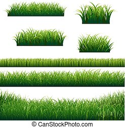 Green Grass Borders Big Collection, Vector Illustration