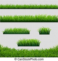 Green Grass Borders Big Set Transparent Background