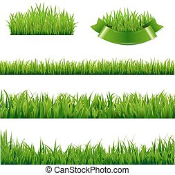 Green Grass Borders Collection, , Isolated Background,...