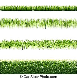 Green Grass Borders Set Isolated Background
