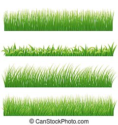 Green grass borders set on white. Vector illustration