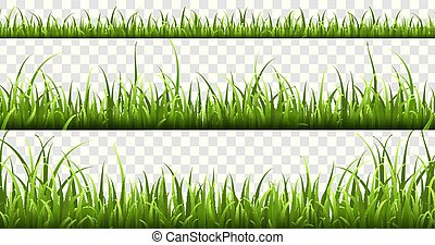 Green grass borders. Summer meadow green panorama nature herbs spring elements lawn grass isolated vector set