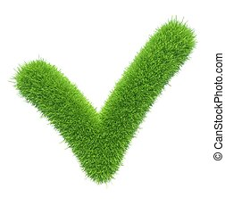 green grass checkmark on isolated background