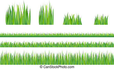 Green Grass - 3 backgrounds of green grass and 4 tufts of...