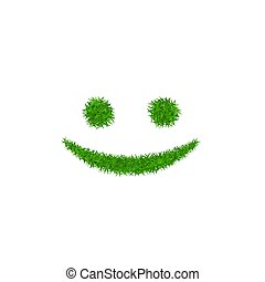 Green grass face smile. Smiley grassy icon, isolated white background. Ecology concept. Happy smiling sign. Symbol eco lawn, nature, safe environment, healthy, fresh spring. Vector illustration