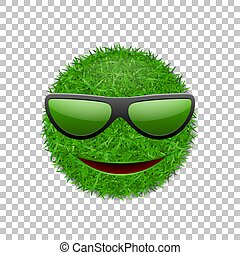 Green grass field 3D. Face smile with sunglasses. Smiley grassy icon, isolated white transparent background. Ecology concept. Happy smiling sign. Symbol eco lawn, nature. Vector illustration