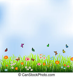 Green grass, flowers and butterflies