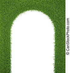 green grass frame, as a gateway to the freshness. 3d render....