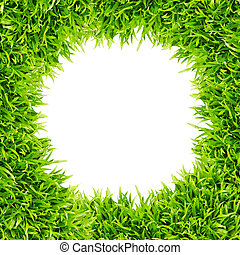 green grass frame isolated on white background
