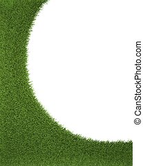 Green grass frame on white background. 3d render