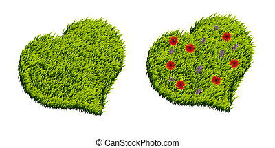 Green grass heart shape